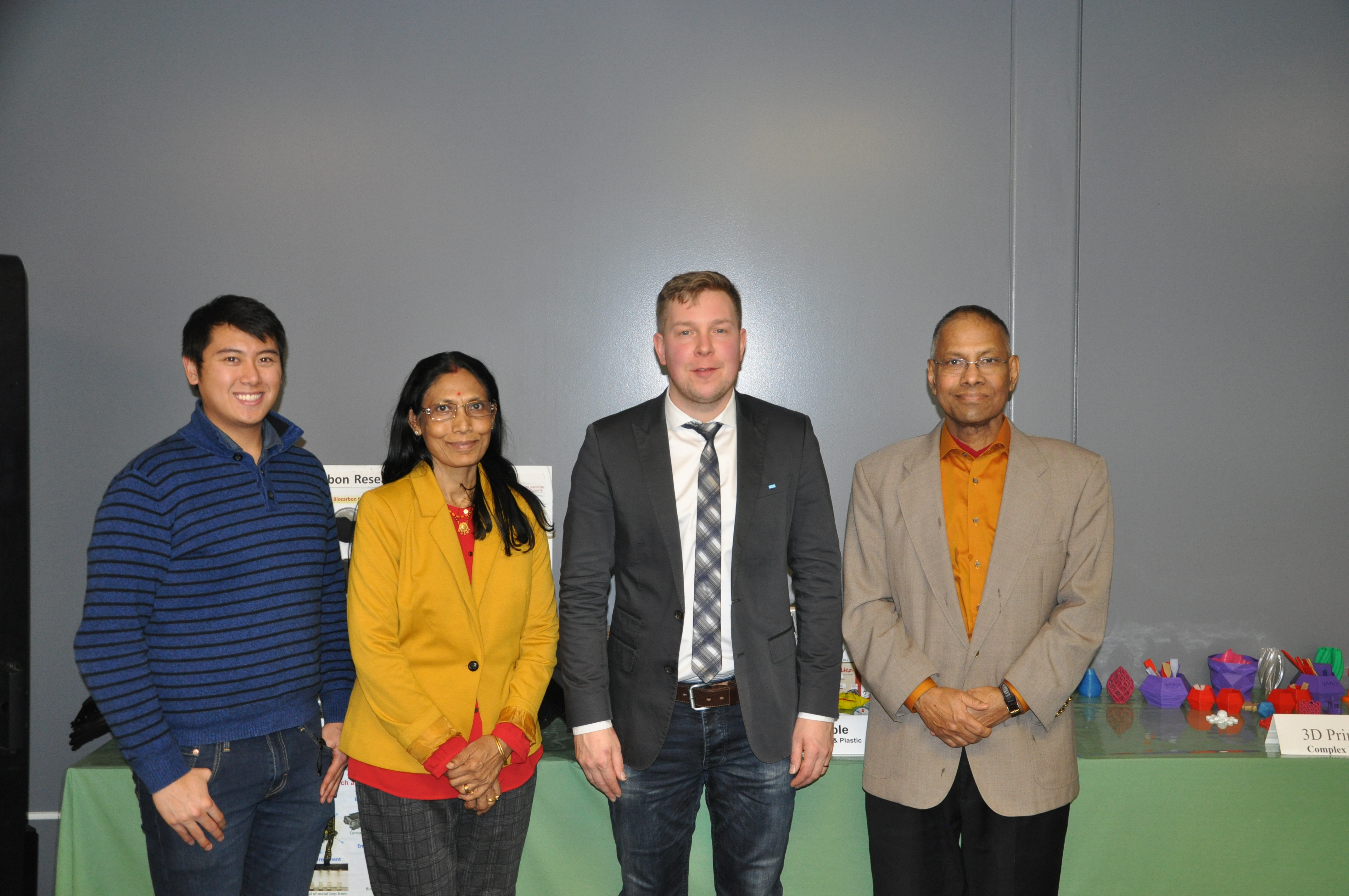 Professor Misra, Mohanty, and outreach coordinator Eugene Enriquez from BDDC with Prof Mikko Kannerva