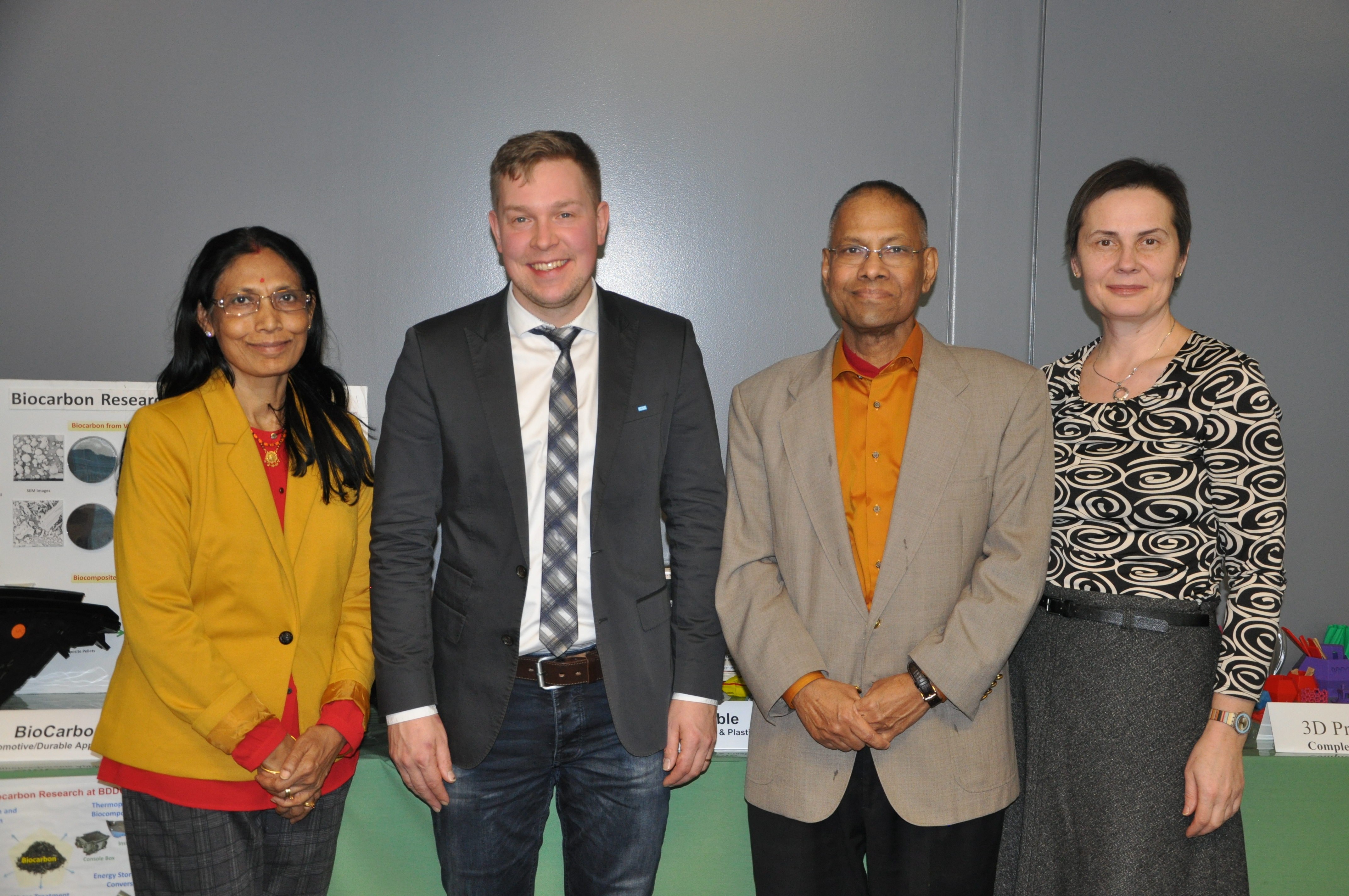 Picture of Professor's Misra, and Mohanty, with Milka Popov and professor Mikko Kannerva
