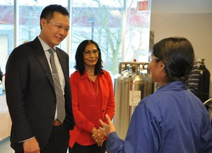 Dr. Misra giving Stan Cho a tour of the facility.