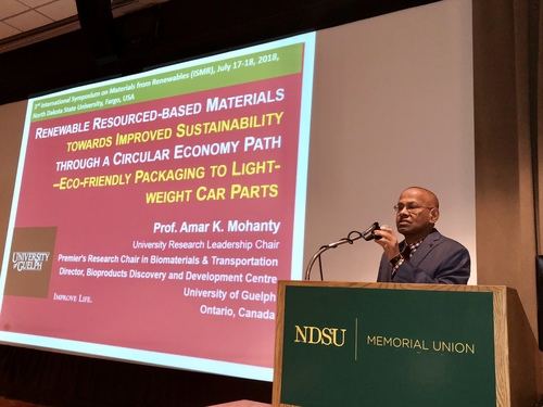 Prof. Amar Mohanty giving a keynote presentation at ISMR 2018