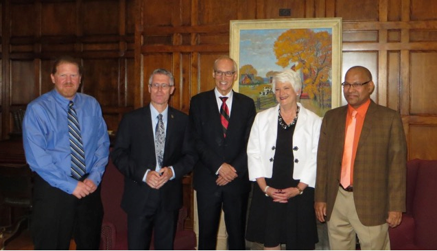 Members of the Ontario Research Fund - Research Excellence project team; Prof. Carl Svensson, Malcolm Campbell, Franco Vaccarino, Liz Sandals, and Prof. Amar Mohanty